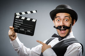 pic of clapper board  - Funny man with movie clapper board  - JPG