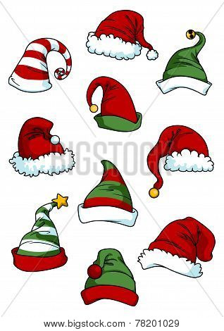 Clown, joker and Santa Claus cartoon hats