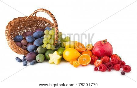 basket with ripe fresh fruits as a rainbow