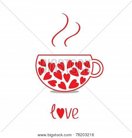 Love Teacup With Hearts. Love Card