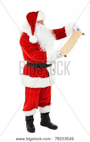 Santa Claus holding list of wishes isolated on white background