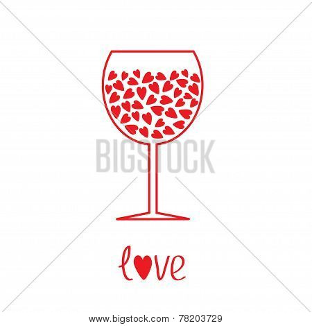 Wine Glass With Hearts Inside. Card