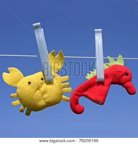 Toys Hanging On Clothesline