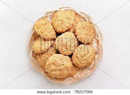 Homemade Oatmeal Cookies, Top View