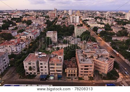 Havana at sunrise. View from the top.