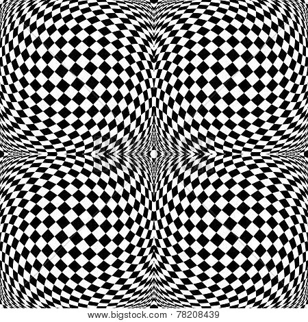 Design Monochrome Motion Illusion Checkered Background
