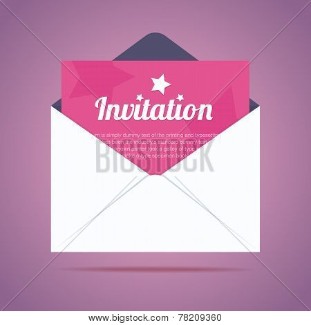 Envelope with invitation card and star shapes.
