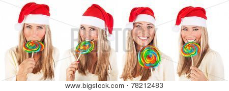 Cute Santa girl with big colorful lollipop isolated on white background, beautiful Christmas collage, celebrating winter holidays,  collection of four different portraits