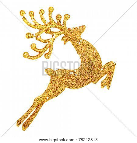 Beautiful golden reindeer toy isolated on white background, little Santa helper decoration, Christmas tree bauble