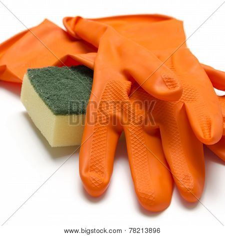 Cleaning Sponge And Gloves