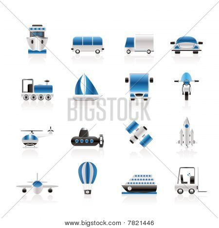 Transportation, travel and shipment icons