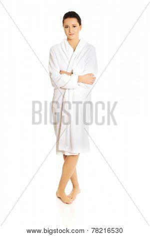 Young beautiful woman wearing bathrobe