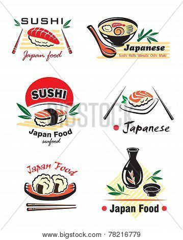 Japanese sushi seafood emblem or logo designs set