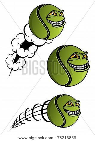 Spiteful tennis ball cartoon character