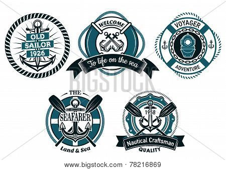 Seafarer and marine adventures emblems