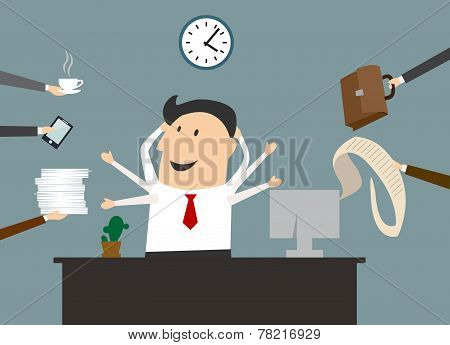 Cartoon multitasking businessman on workplace
