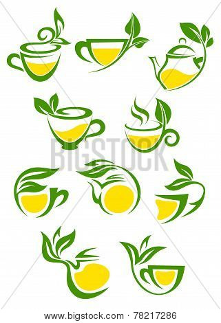 Green or herbal tea with lemon icon set