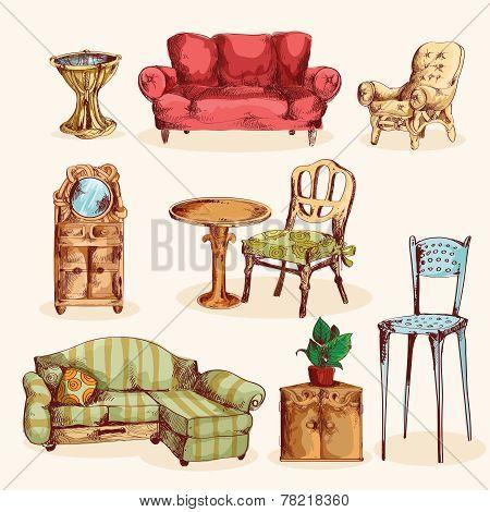 Furniture Sketch Colored