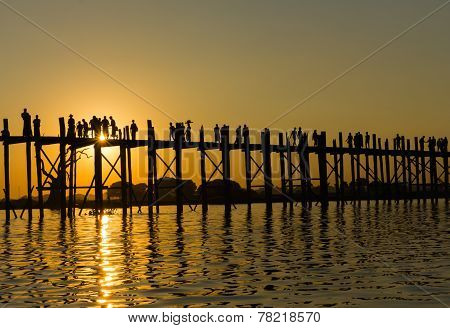 Sunsut at U Bein bridge, Myanmar