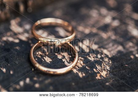 Wedding-ring On Whooden Surface