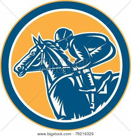 Jockey Horse Racing Side Circle Retro