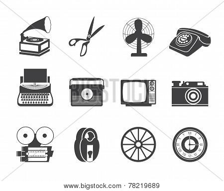Silhouette Retro business and office object icons