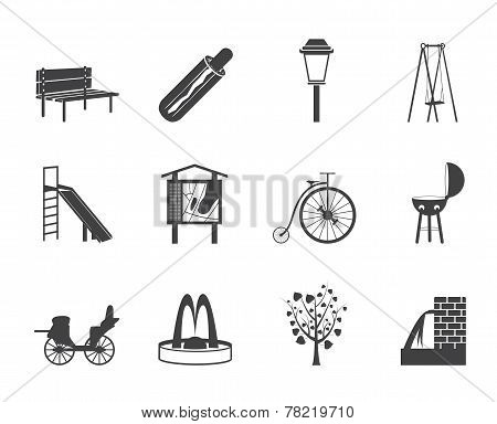 Silhouette Park objects and signs icon