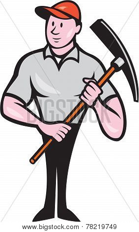 Construction Worker Holding Pickaxe Cartoon
