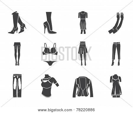 Silhouette woman and female clothes  icons
