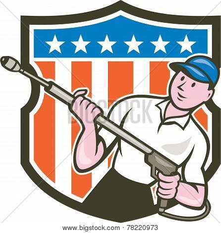 Pressure Washer Water Blaster Usa Flag Cartoon