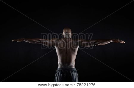 Strong Back Of A Black Muscular Man