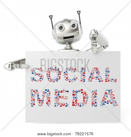 Funny robot holding a social media billboard sign with many icons (3D Rendering)