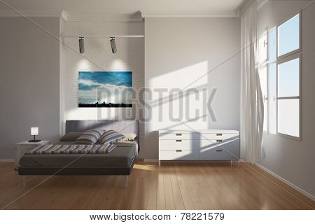 Modern bright hotel interior in Berlin with bed and furniture (3D Rendering)