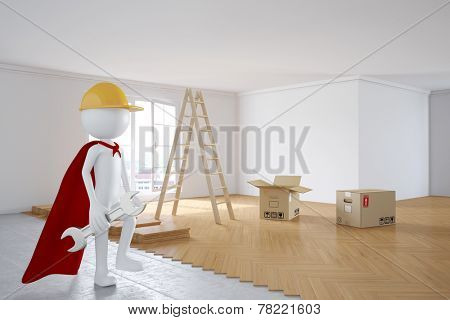 3D human as superhero worker during renovation in a room with new flooring (3D Rendering)