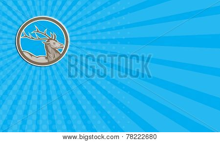 Business Card Deer Stag Buck Head Circle Retro