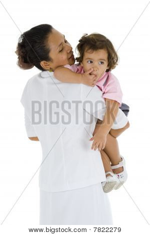 Woman Holding A Cute Girl