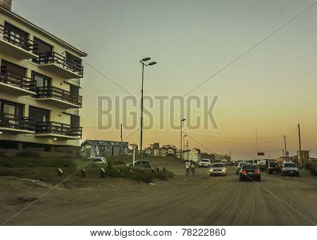 Pinamar City At Sunset