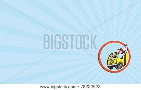 Business Card Delivery Truck Driver Waving Circle Cartoon
