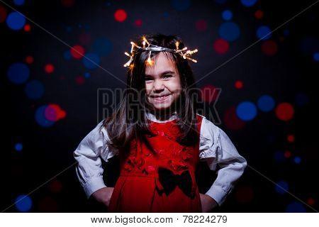 Girl Portrait Whit Christmas Lights