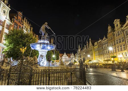 Neptune Fountain At Gdansk, Poland