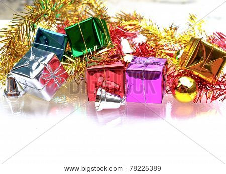 Christmas Background With The Gift Boxes Decoration