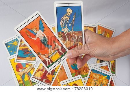 A pile of tarot cards