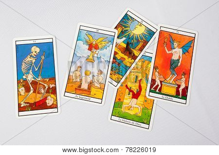 A pile of tarot cards