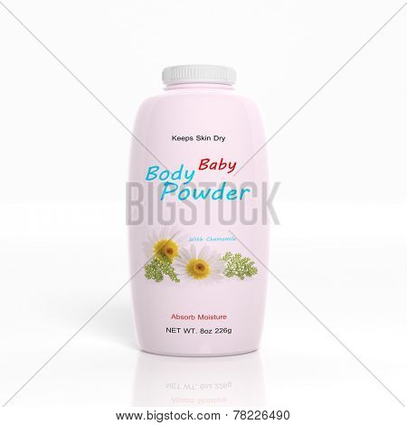 3D Baby Powder plastic bottle isolated on white background