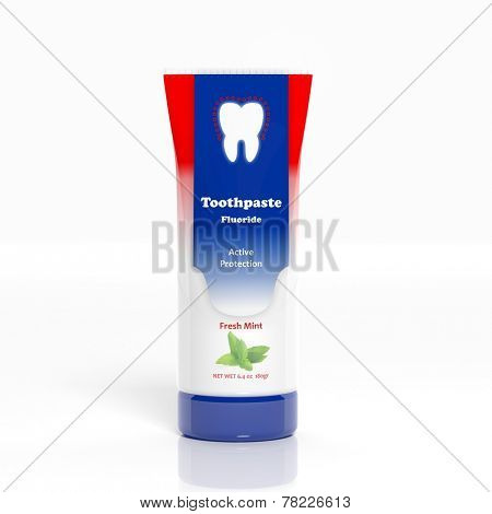 3D Toothpaste plastic tube isolated on white background