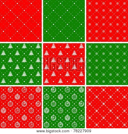 Seamless patterns. Ornament with Christmas trees and dotted rhombuses. Holiday backgrounds.
