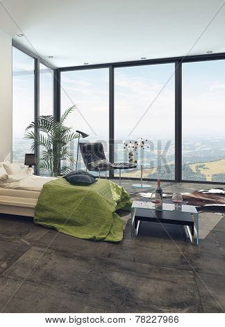 Elegant modern bedroom interior with panoramic floor-to-ceiling view windows, a double divan, tables and chair with potted plants, bright and airy. 3D Rendering.
