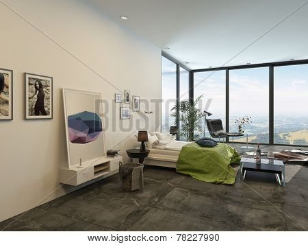 Spacious bright modern bedroom interior with large floor-to-ceiling panoramic windows, a double divan, artwork, cabinets and chairs in a fresh white and grey decor with green accent. 3D Rendering.