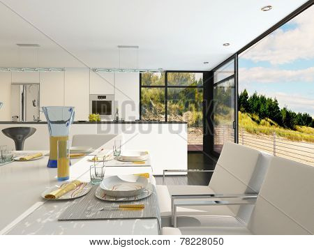 Modern open-plan dining area with stylish place settings on a contemporary table with metal framed upholstered chairs, panoramic view windows and a kitchen area with fitted appliances. 3D Rendering.
