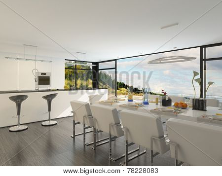 Elegant contemporary dining area with a dining suite laid with formal place settings and an open-plan fitted kitchen with bar counter overlooked by a floor-to-ceiling glass window. 3D Rendering.